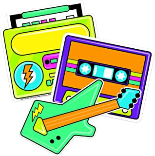Eureka Back to School 80s Boombox Paper Cut Out Classroom Decorations for Teachers, 5.5'' W x 5.5'' H