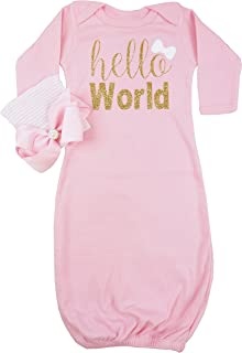 Hello World Infant Baby Gown Layette Soft Sleeper Newborn Girl's Soft Beanie Girl Outfit Pink Gold