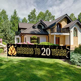 Large Cheers to 20 Years Banner, Black Gold 20 Anniversary Party Sign, 20th Happy Birthday Banner