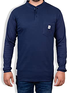 Fire Resistant 7 oz. Cotton Long Sleeve Henley – FR T-Shirt Defies Melting, Dripping, After-Burning – Fire Retardant Clothing for Electricians, Welders, More by Ur Shield, Navy