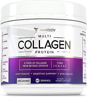 Multi Collagen Peptides Powder: 40 srv Anti Aging Collagen Powder with Hydrolyzed Collagen Protein from Grass-Fed Beef, Wild Marine, Chicken, Eggshell, Types I II III V X Keto Collagen Supplement