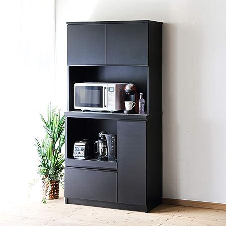 食器棚 レンジ台 コンセント付 キッチンボード ナポリ 幅90(88.8) 完成品 カラー5色(エレガンスブラック) おしゃれ