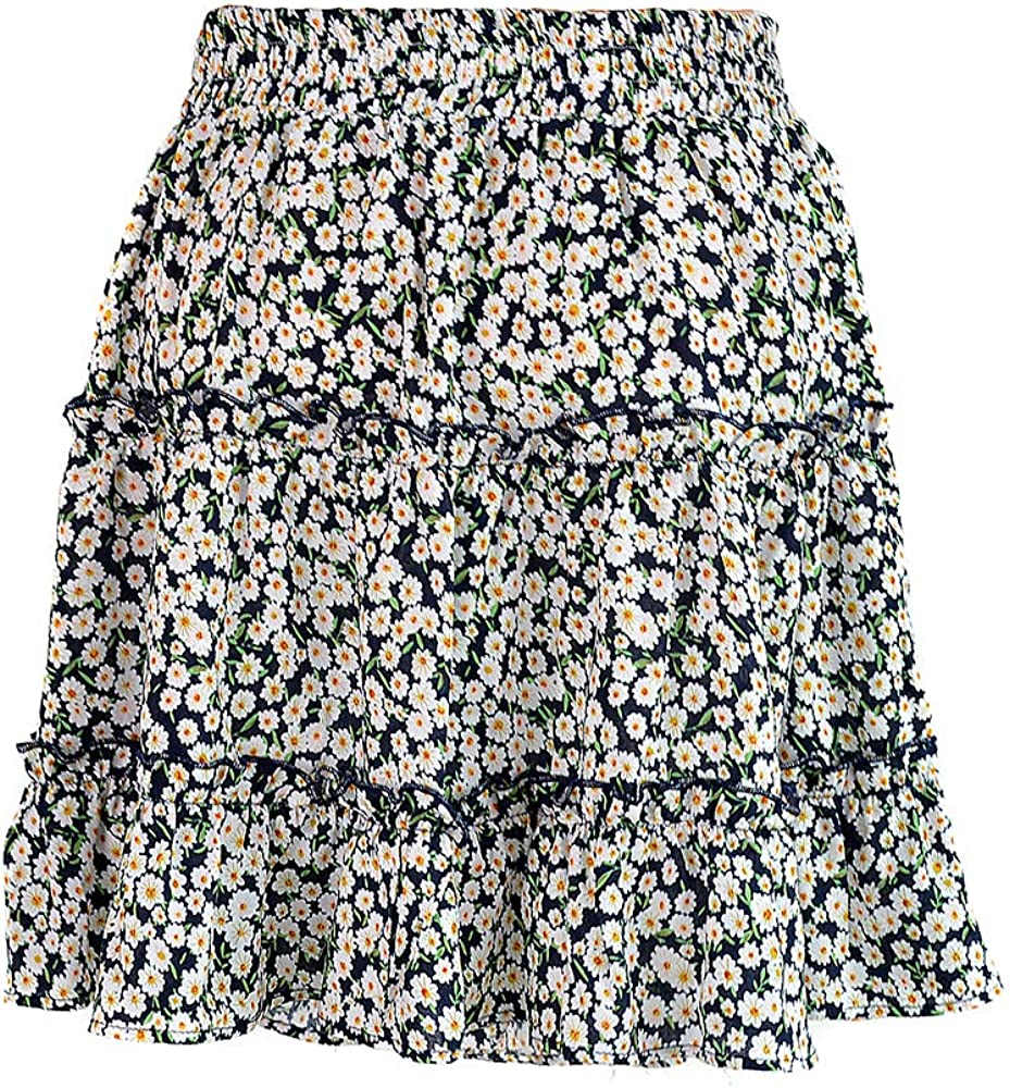 Generic Brands gShopvv Women's Fashion Casual Pleated Flared Flower Skirt Navy for Valentine's Day