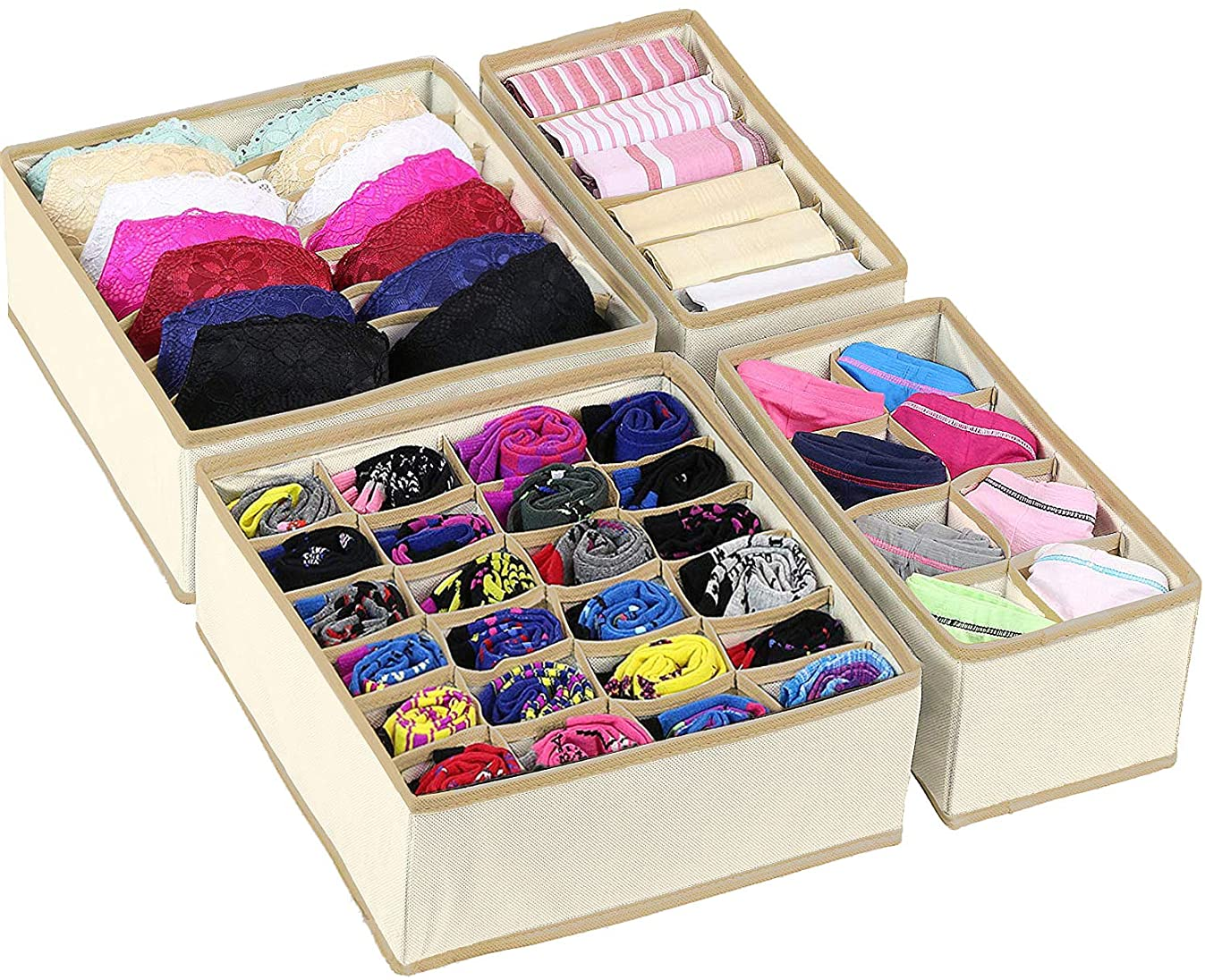 Simplized Closet Underwear Organizer, 4 Pack, Beige | Collapsible Foldable Cloth Storage Box, Dresser Drawer Organizer Divider Set Cube Basket Bins Containers for Lingerie, Clothes, Bras, Socks, Ties,