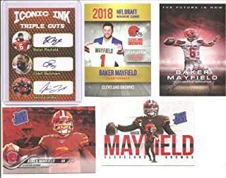 Baker Mayfield Cleveland Browns Offensive Rookie of the Year, Rated Rookie Phenoms Gold Platinum, QB6, The Future is Now and Iconic Ink Rookie Football Card (LOT of 5)