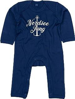 Kleckerliese Baby Strampler Schlafanzug Overall Sprüche Jungen Mädchen Motiv Nordsee Jung Anker