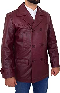 HOL Mens Real Leather Double Breasted Reefer Peacoat Jacket Salcombe Burgundy