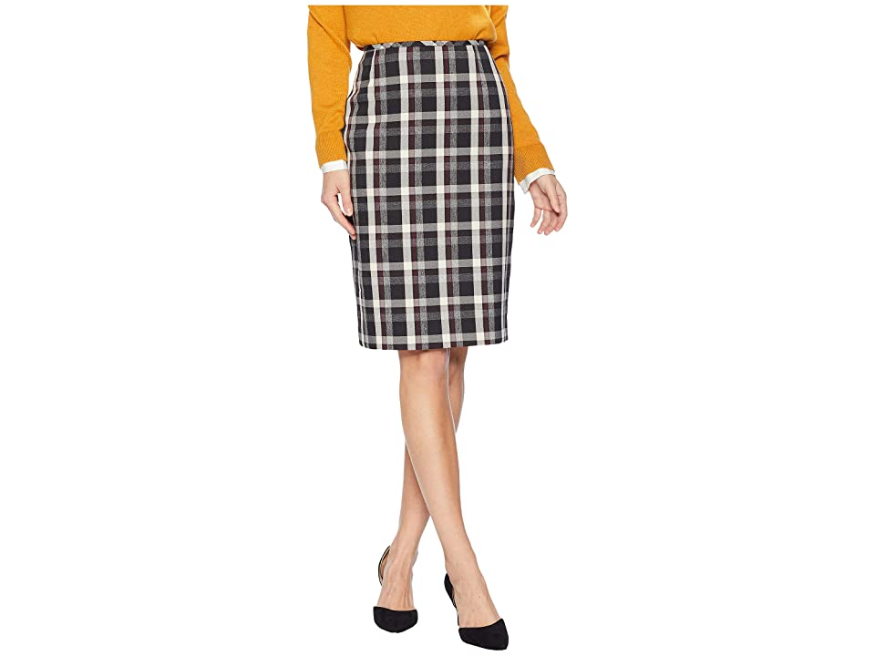 Tahari by ASL Novelty Plaid Skirt (Cabernet/Black/Ivory) Women