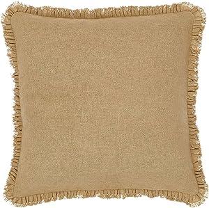VHC Brands Burlap Euro Pillow Sham Cover with Ruffle Cotton Farmhouse Home Decor Bedding Accessory, 26x26, Tan