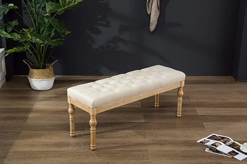 Roundhill Furniture CB161TA Habit Solid Wood Button Tufted Dining Bench Beige