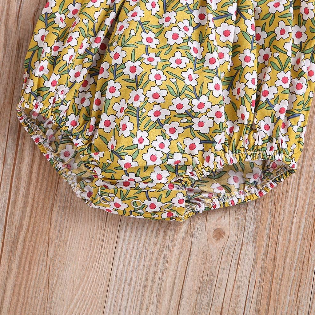 Womola Infant Baby Girls Newborn baby Sleeveless Ruffles Floral Print Romper Bodysuit Set