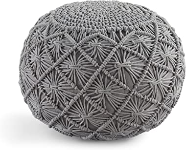 Casa Platino Pouf Ottoman Hand Knitted Cable Style Dori Pouf - Macramé Pouf - Cotton Braid Cord - Handmade & Hand Stitche
