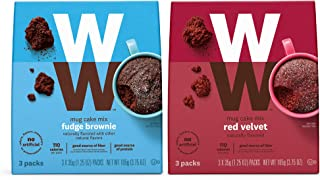 WW Mug Cake Variety Pack, Fudge Brownie and Red Velvet - High Protein, 3 SmartPoints - 6 of Each Flavor (12 Count Total) - Weight Watchers