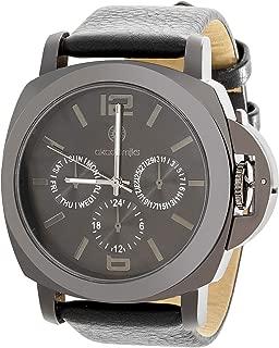 Akademiks Gunmetal Tone Multifunction Black Leather Band Watch for Men