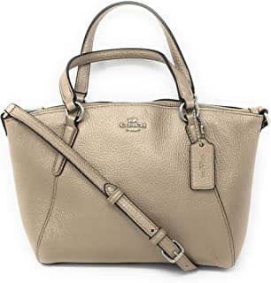 Coach Pebble Leather Mini Kelsey Satchel Crossbody Handbag (Metallic Platinum)