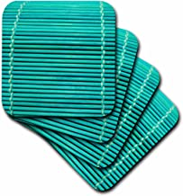 3dRose Florene Turquoise Bamboo Coaster, Soft, Set of 4