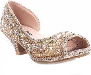 de1a87f988040f Bella Marie Fashion Truly-8 Rhinestones Kids Peep Toe Slip On Girls Kitten Heels  Sandals