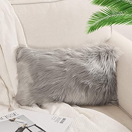 Amazon Com Ojia Faux Fur Throw Pillow Cover Lumbar Cushion Case Super Soft Plush Accent Pillows Case Decorative New Luxury Series Style 12 X 20 Inch Thick Grey Home Kitchen
