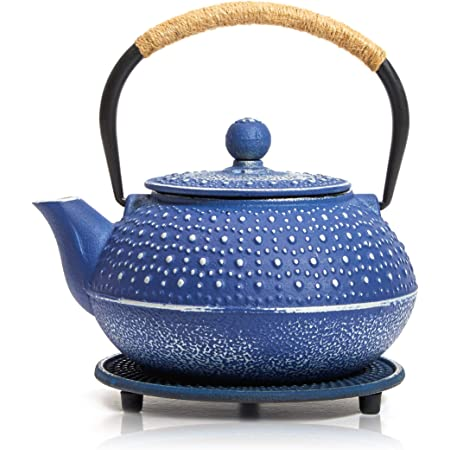 Blue Cast Iron Japanese Teapot with Handle, Infuser, and Trivet (800 ml, 27 oz)