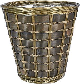 Household Essentials ML-2317 Medium Decorative Waste Basket   Haven Willow and Poplar   Natural Dark Brown