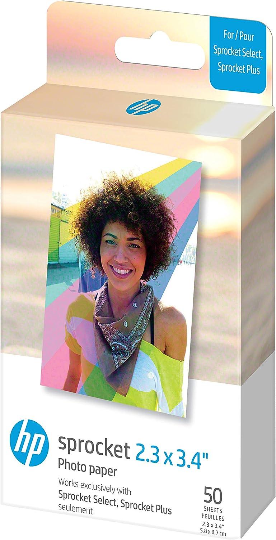 HP Sprocket Papel fotográfico Adhesivo Premium de Zink de 5.8 x 8.7 cm (50 Hojas) Compatible con Las impresoras fotográficas HP Sprocket Select