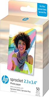 """HP HPIZL2X350 Sprocket 2.3 x 3.4"""" Premium Zink Sticky Back Photo Paper (50 Sheets) Compatible with Sprocket Select and Plu..."""