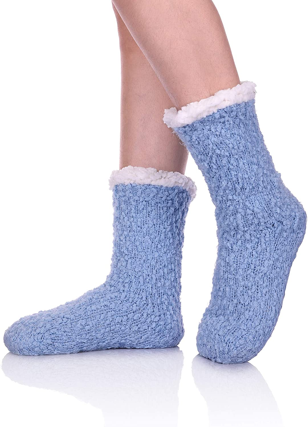 YEBING Women Slipper Socks Soft and Warm Faux Shearling Lining and Non Skid Tread Sole Great Plush Slip On House Slippers