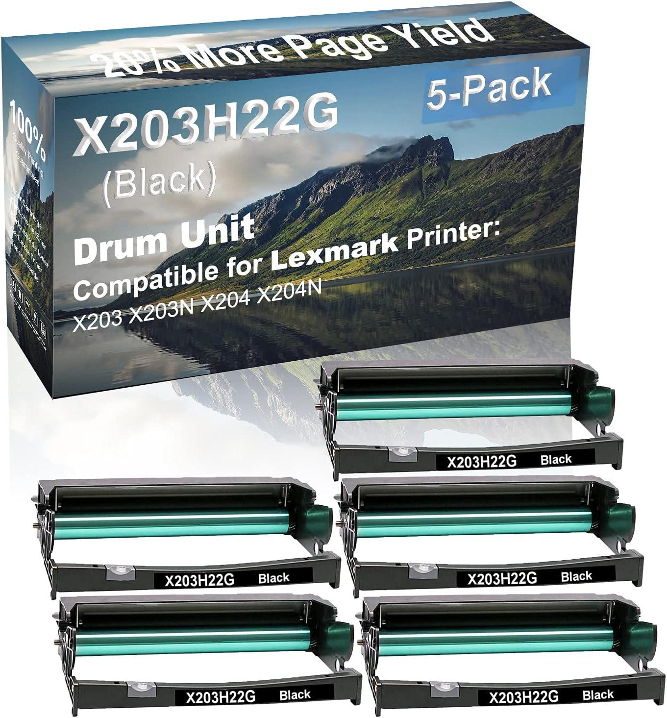 5-Pack Compatible Drum Unit (Black) Replacement for Lexmark X203H22G Drum Kit use for Lexmark X203 X203N X204 X204N Printer