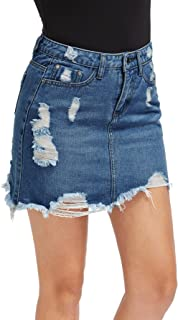 Verdusa Women's Casual Distressed Ripped A-Line Denim Short Skirt