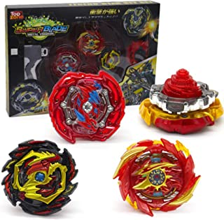 Toyuma Bey Battle Tops Metal Fusion Burst Turbo Gyro Evolution Set with 4D Launcher Grip and Stadium-Red