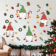 Stology Christmas Gnomes Wall Decal Stickers, Merry Xmas Scandinavian Tomte Elf Snowflake Candy Cane Decor, Winter Holiday...