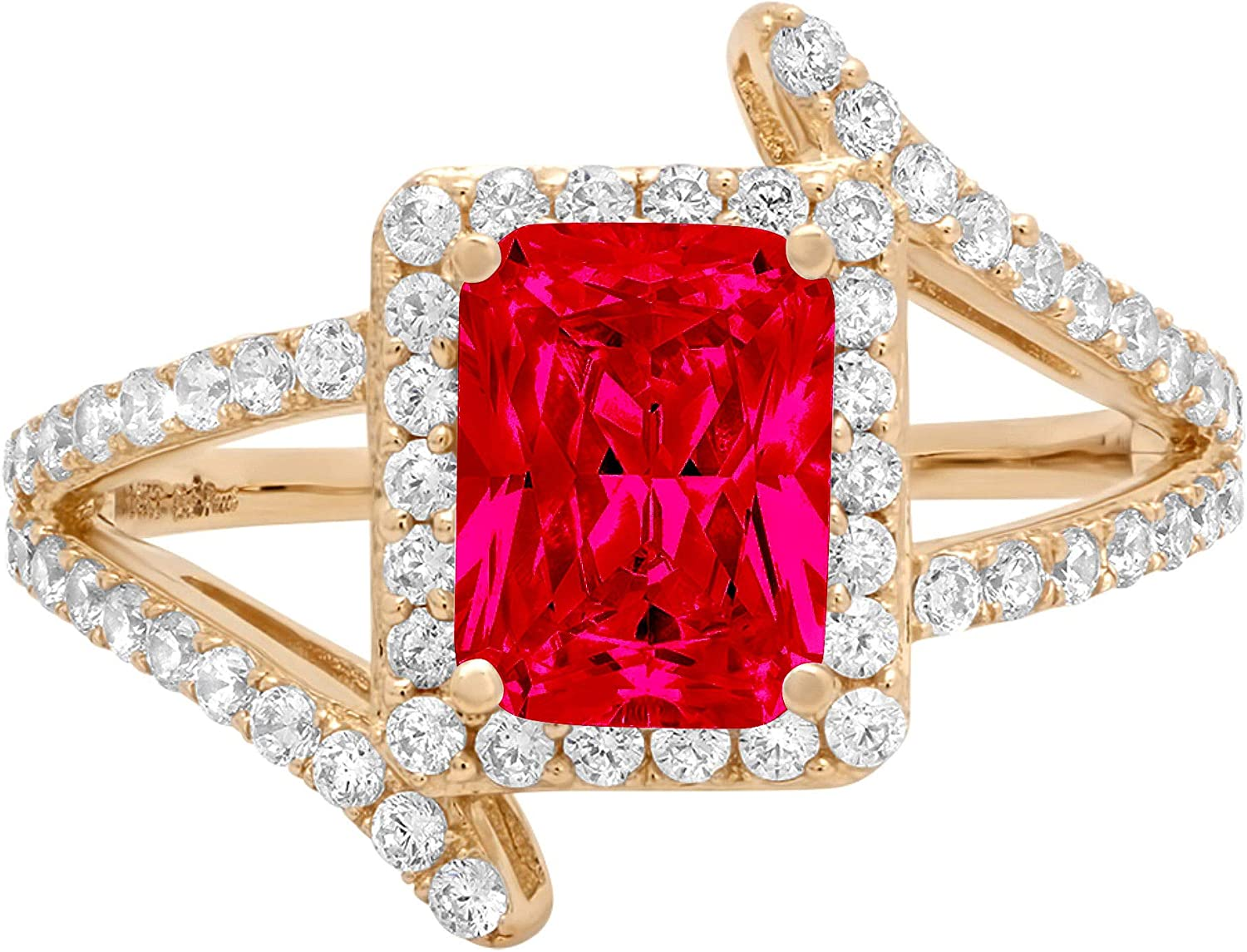 2.04ct Emerald Cut Solitaire with Accent Halo Criss Cross Flawless Ideal VVS1 Simulated CZ Red Ruby Engagement Promise Statement Anniversary Bridal Wedding Designer Ring 14k Yellow Gold