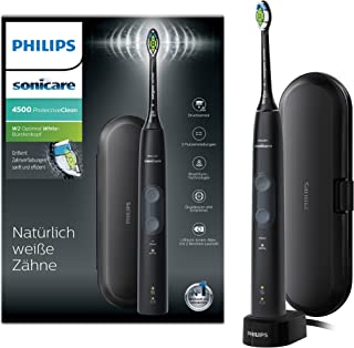 Philips 飞利浦 Sonicare ProtectiveClean 4500电动牙刷带声波技术,2个程序,遮罩控制,旅行盒 黑色