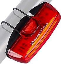 Luz Trasera Bici Recargable USB de Apace - Superbrillante 100 Lúmenes Luz Posterior de Bicicleta LED Fácil Enganche Luz Trasera Roja para Mountain Bike para Seguridad Optima en Bici