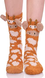 Womens Girls Soft Fuzzy 3D Cute Animal Sleeping Winter Warm Slipper Socks 1 Pairs