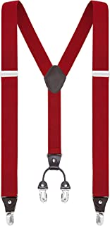 "Buyless Fashion Suspenders for Men - 48"" Elastic Adjustable Straps 1 1/4"" - Y Shape"