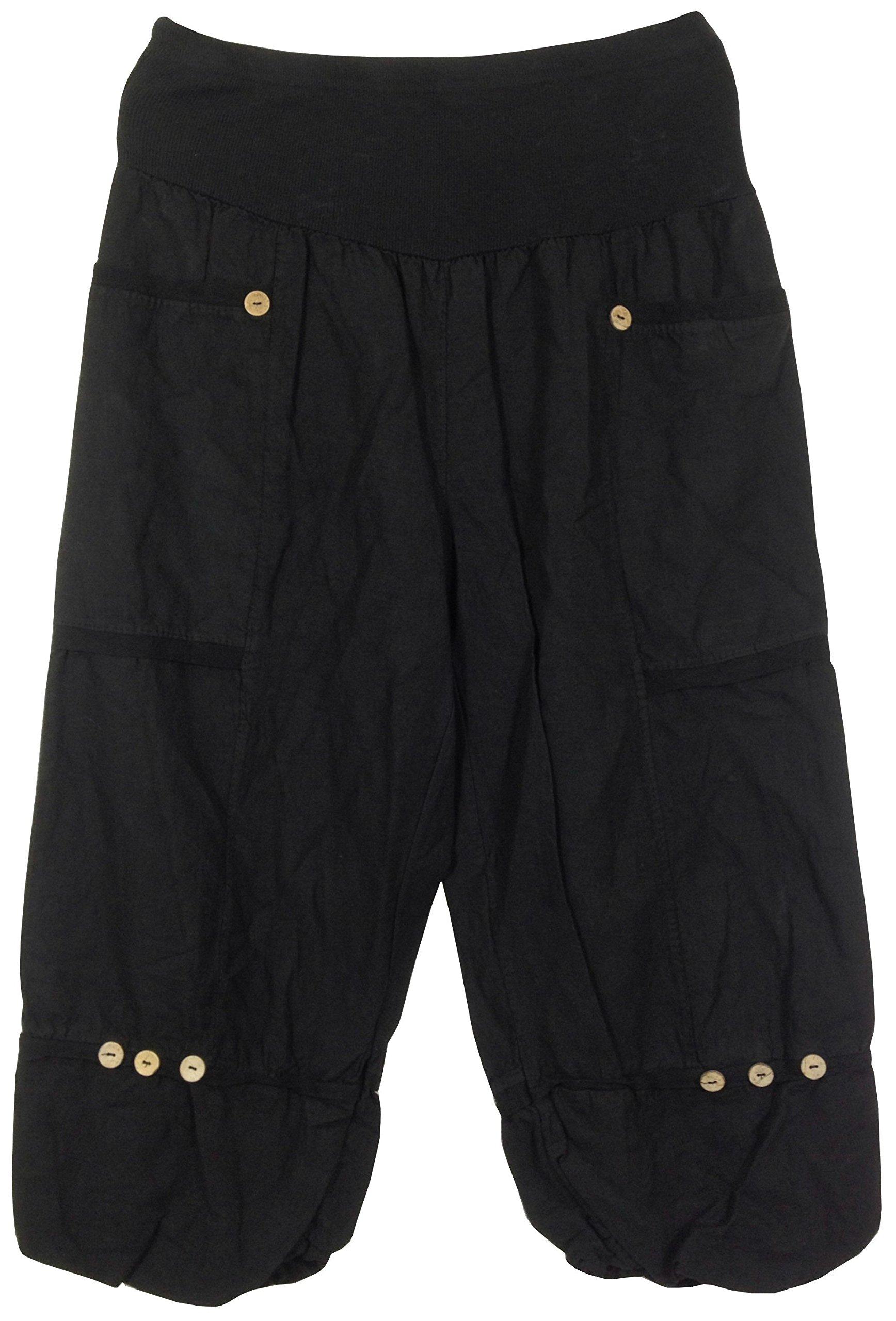3/4 Pantacourt en lin femme, 2 poches appliquées, longueur env. 80 cm