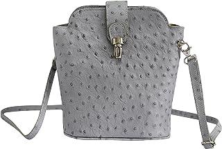 AmbraModa SL 704 - Borsa a tracolla donna piccola, borsa a spalla, piccola borsa italiana realizzata in vera pella. (grigio)