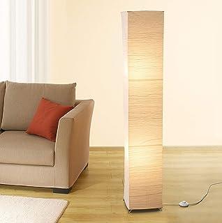 Trango 1213 Lampadaire design *OSLO* Lampe en papier de riz *FAIT MAIN* avec abat-jour beige avec 2x douille E14, forme: a...