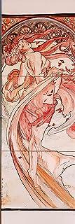 Pannello decorativo cm. 90 x 30 La Danza di Mucha Dipinto a mano Pezzo Unico Le Ceramiche del Castello