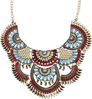 Womens Antique Silver/Gold Alloy Vintage Colorful Boho Bohemia Turquoise Necklace Ethnic Tribal Beaded Necklace Chunky Choker Statement Necklace