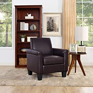 Lohoms Modern Faux Leather Accent Chair Uplostered Living Room Arm Chairs Comfy Single Sofa Chair (Espresso)