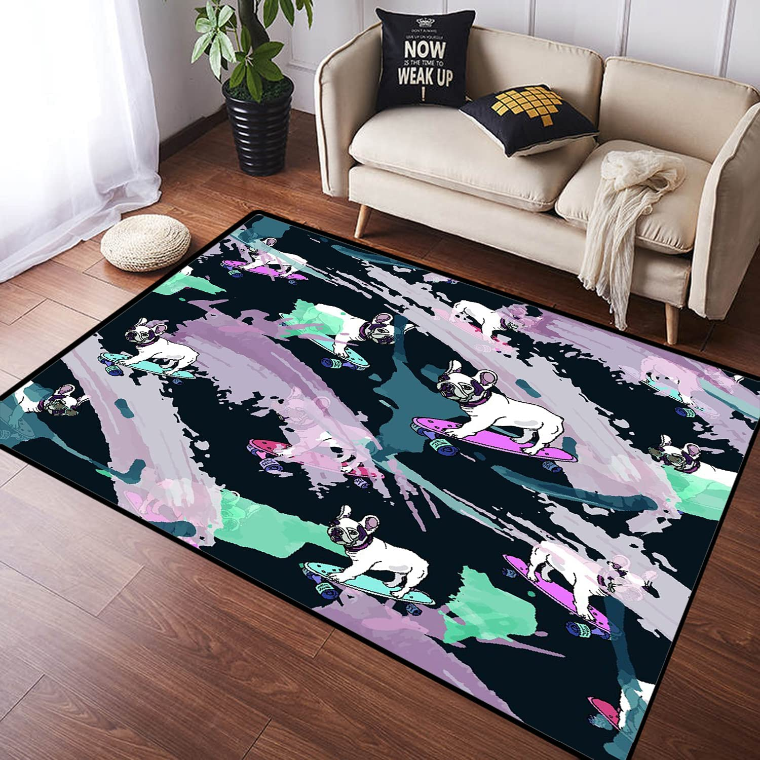 ZOMOY Long Factory outlet Floor Mat Max 89% OFF Carpet Seam French Skateboard Bulldog Paint