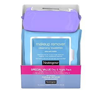 Neutrogena Day & Night Wipes with Makeup Remover Face Cleansing Towelettes & Night Calming Facial Cloths, Alcohol-Free Wipes to Remove Dirt, Oil & Waterproof Mascara, 3 Packs of 25 ct, 75 ct