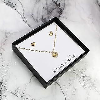 Set Collar y Aretes de Corazon en Chapa de Oro de 22K Regalo para Pareja