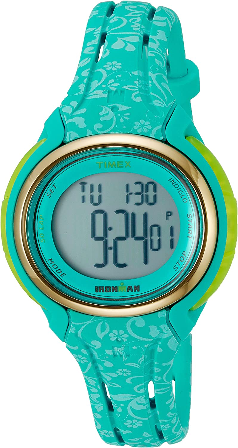 Latest item Timex Women's TW5M03100 Industry No. 1 Ironman Sleek Blue 50 Floral St Silicone