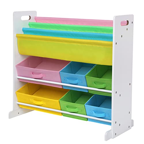 SONGMICS Childrenu0027s Toy Storage Unit, With 6 Fabric Storage Containers And  3 Tier Book