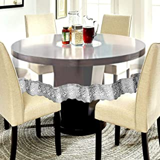 CASA-NEST PVC Waterproof 6 Seater Round Table Cover with Silver LACE Plain 72inch