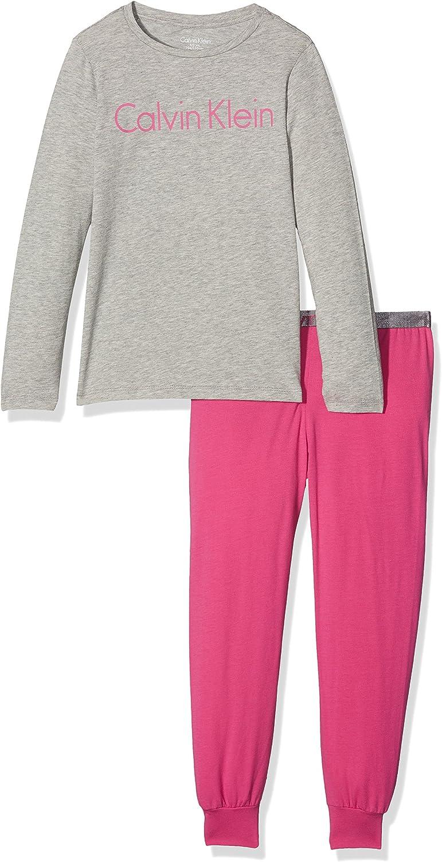 Calvin Klein LS Knit PJ Set Pijama, Multicolor (Grey Heather ...