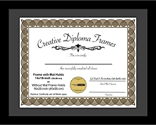 CreativePF [1620bk-b] Satin Black Large Diploma Frame with Black Mat Holds 14x18-inch Documents with Glass and Installed Wall Hanger